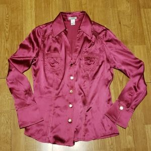 VTG Cache hot pink silk disco party top sz M